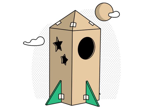 a cardboard box rocket