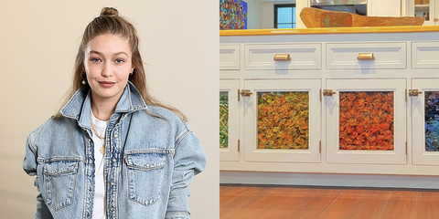 gigi hadid kitchen pasta art