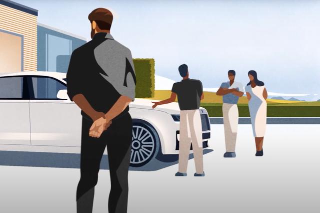 a cartoon version of the new rolls royce ghost luxury sedan