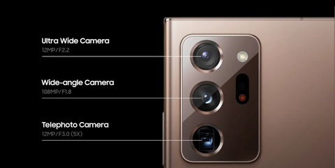 the triple camera array on the galaxy note 20