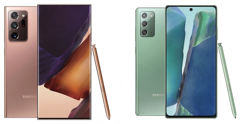 the galaxy note 20 left and the galaxy note 20 ultra right