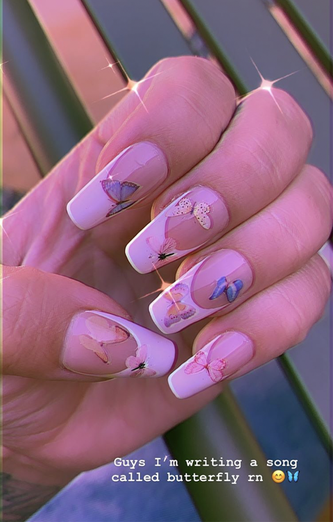 demi lovato butterfly nails