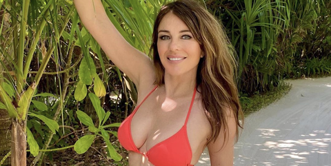 Liz Hurley puts on leggy display as she teases new project