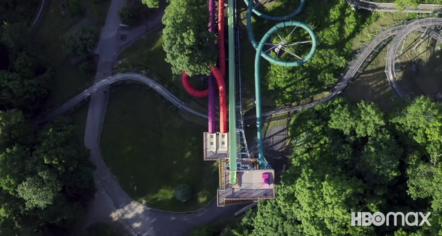 a drone shot of action park