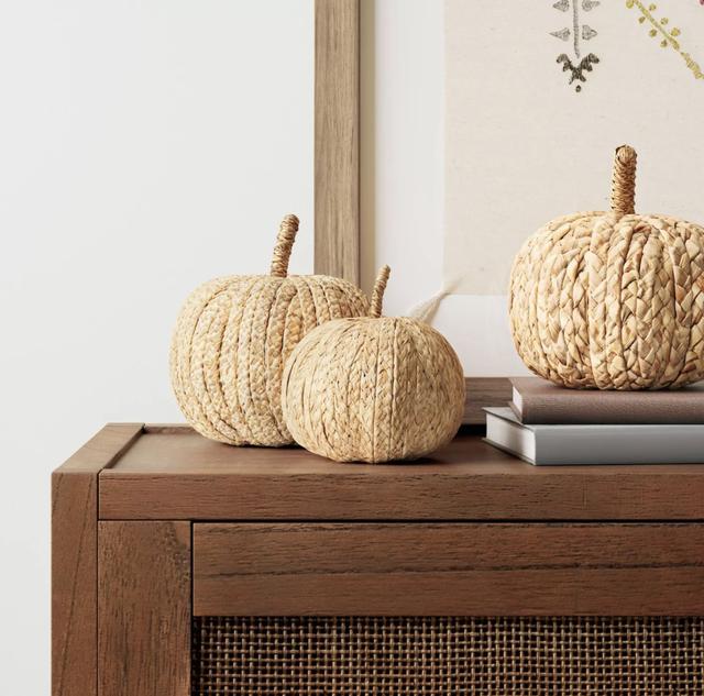 pumpkins on a dresser