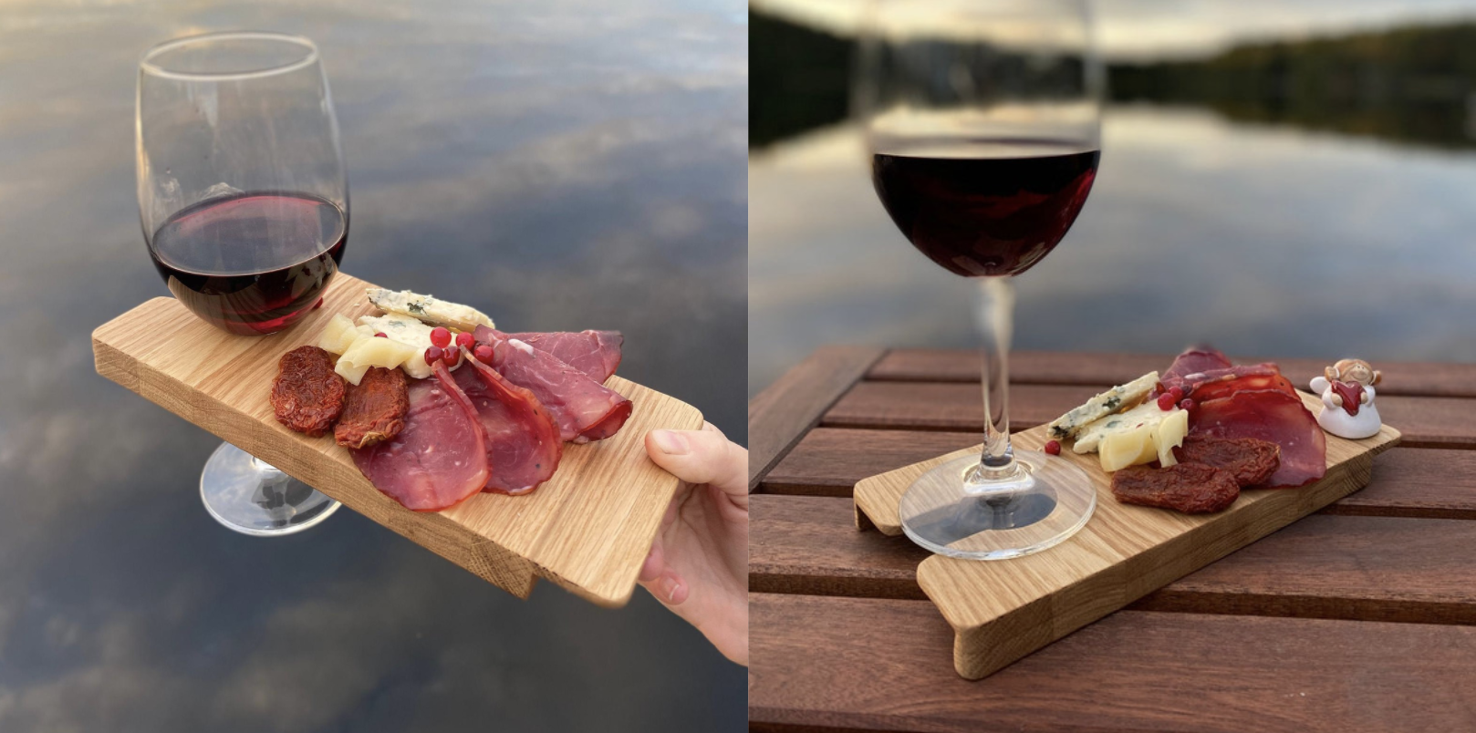 This Personal Charcuterie Board Holds A Glass Of Wine