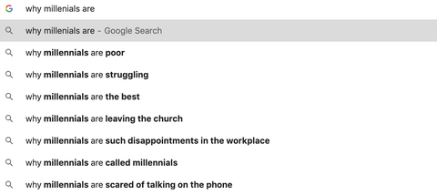 google search of millenials