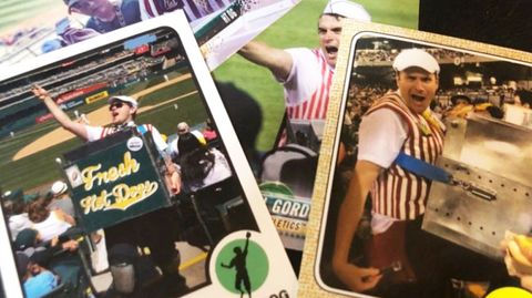 baseball cards in a pile featuring hal the hot dog guy