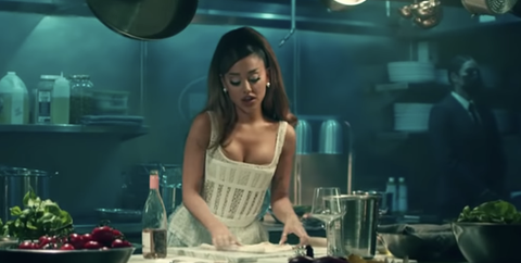 ariana grande cooking scene positions
