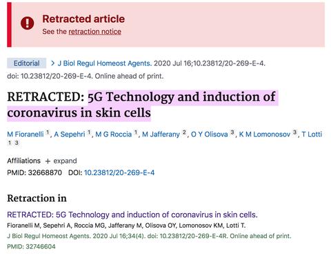una captura de pantalla del sitio web pubmed que muestra el artículo retirado que vincula 5g y covid 19