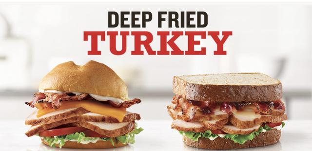 arbys deep fried turkey sandwiches, deep fried turkey club, market fresh cranberry sandwich, limited time offer