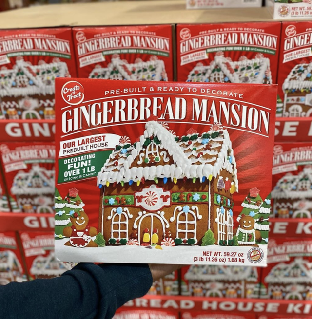 costco gingerbread mansionl red box, pre built gingerbread house, one pound of icing and candy