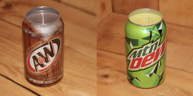 etsy handmade candles, soda can candles, upcycled soda can, single wick candles, soda scented candles