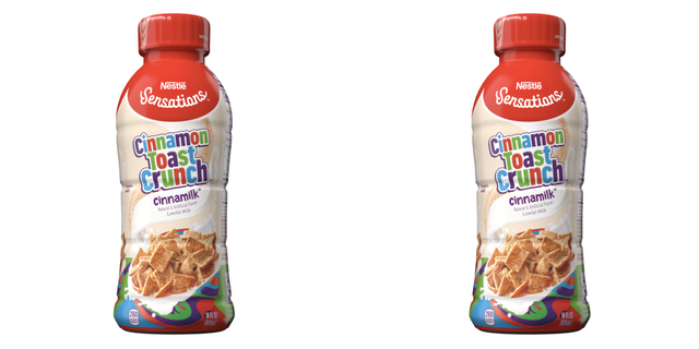 nestle sensations cinnamon toast crunch cinnamilk, red cap and colorful bottle, cereal pieces on label