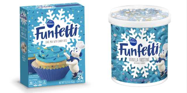 funfetti winter blue vanilla cake mix and vanilla frosting