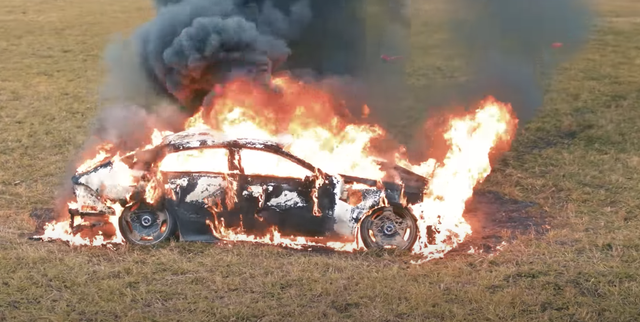 mercedes on fire