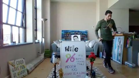 michael ortiz takes laps around his apartment one loop equaled 40 feet