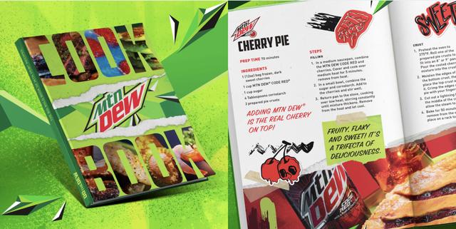 mountain dew cookbook, neon green, cherry pie recipe, mtn dew soda
