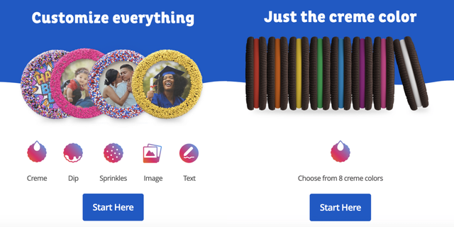 oreo cookie oreoid, custom oreo cookie creator, creme color in red orange yellow green blue purple or pink, add images or sprinkles