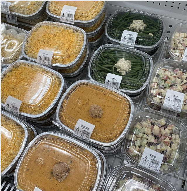sam's club ready made thanksgiving side dishes, mashed sweet potatoes with cinnamon butter, mac  cheese, waldorf salad, green beans with garlic butter