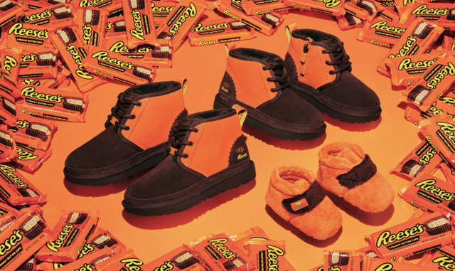 ugg x hershey's collaboration, orange and brown reese's designs