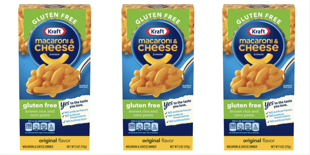 kraft macaroni  cheese gluten free box with yellow, blue, and green label
