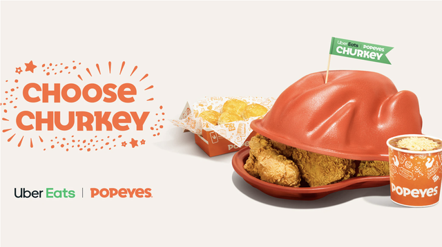 popeyes churkey meal for thanksgiving with chicken, biscuits, and a side