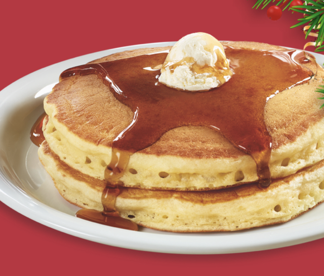 dennys two stack pancakes with syrup and butter