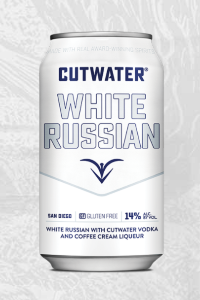 white can that says white russian on it