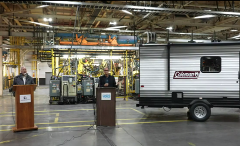 lordstown, camping world ceos on the floor at lordstown motors' plant in ohio