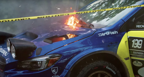 burnt rally car
