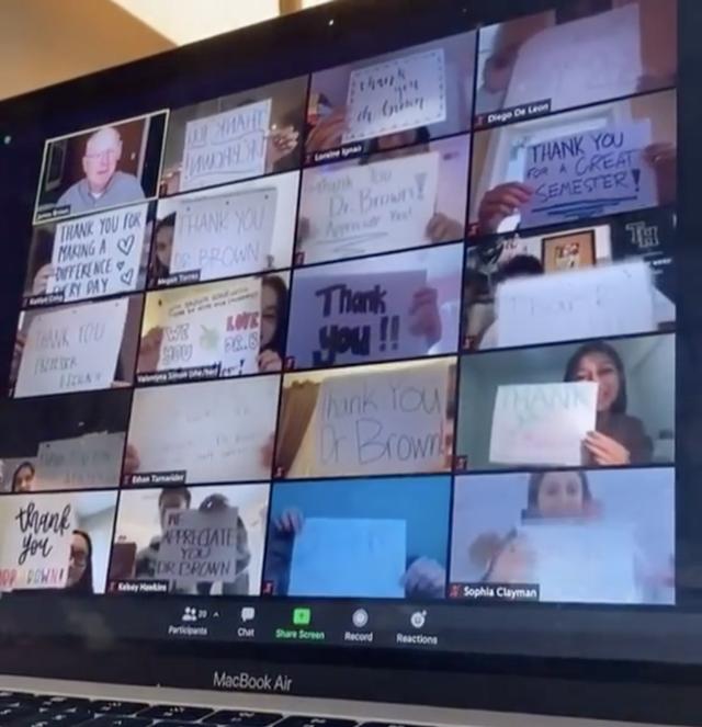 students surprise teacher on zoom