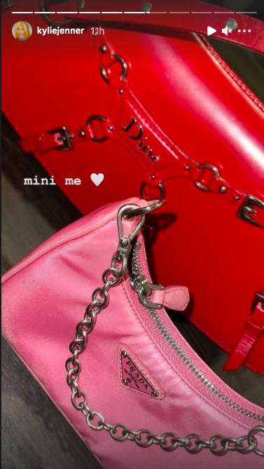 kylie jenner shares photo of stormi's 'mini me' pink prada handbag