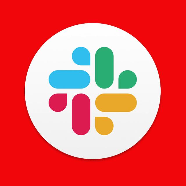slack logo on red background