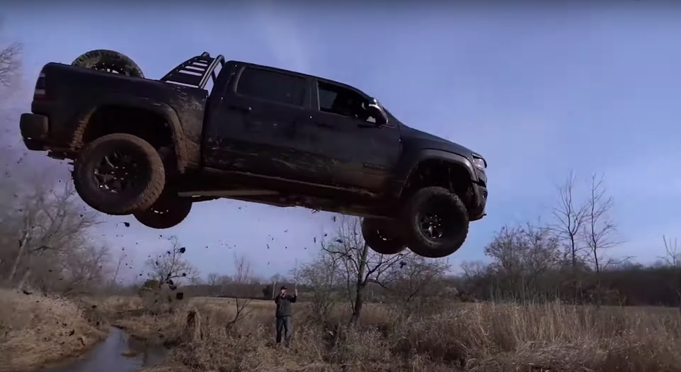 A Brief History of People Wrecking Brand-New Trucks With Ill-Advised Jumps thumbnail
