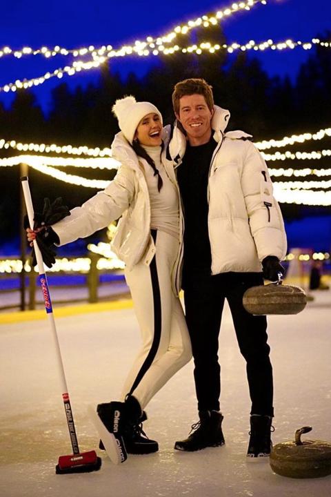 nina dobrev and shaun white curling