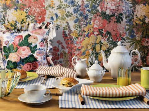 rebecca gardner striped easter table elle decor