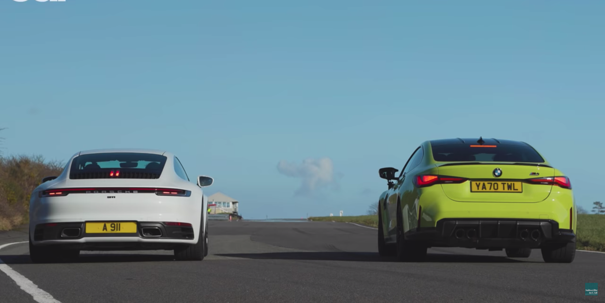 Watch a Porsche 911 Stomp a New BMW M4 Competition in a Drag Race - RoadandTrack.com