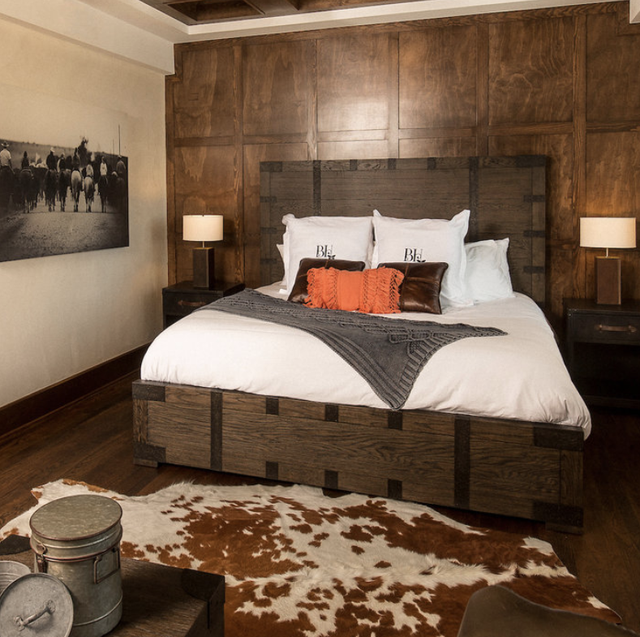 cowhide rug at the boarding house