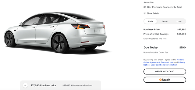 buying tesla model 3 online