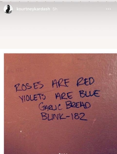 kourtney kardashian post poem from travis barker on instagram story