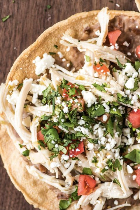 slow cooker chicken salsa verde tostadas