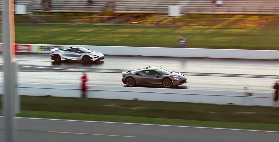 Watch a Ferrari SF90 Stradale Smoke a McLaren 765LT in the Quarter-Mile