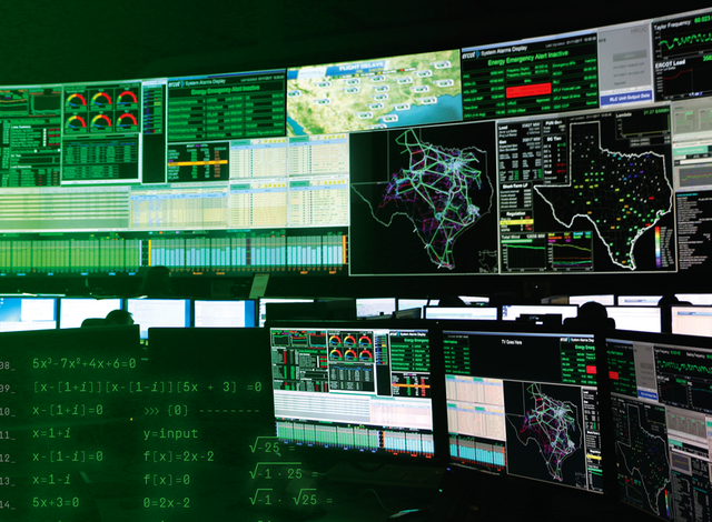 ercot control center with math overlaid on top of the computer screens