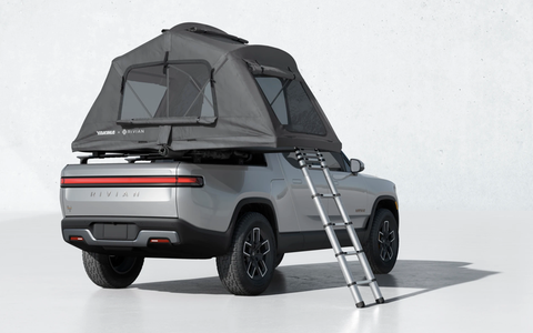 rivian r1t with rooftop tent