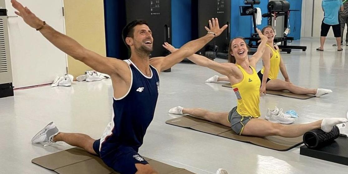 Novak Djokovic Does Splits With Belgian Gymnasts