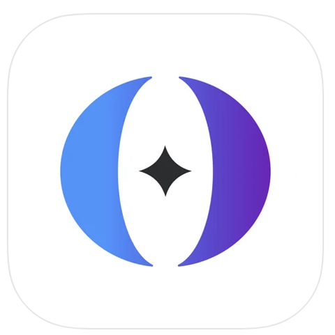 the logo for the app oromoon, showing an abstract o in blue and purple with a black star in the center