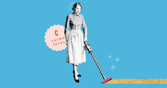 a woman vacuuming with a dyson