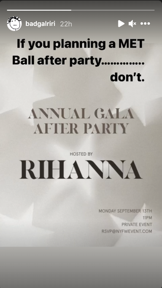 rihanna met gala after party announcement on her instagram story