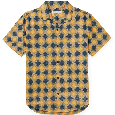 blue and yellow diamond print button up shirt